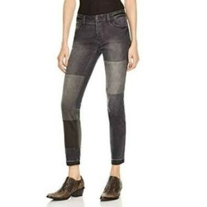 Free People Black Patched Skinny Jeans Womens 29